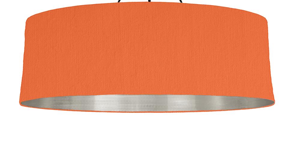 Orange & Brushed Silver Lampshade - 100cm Wide