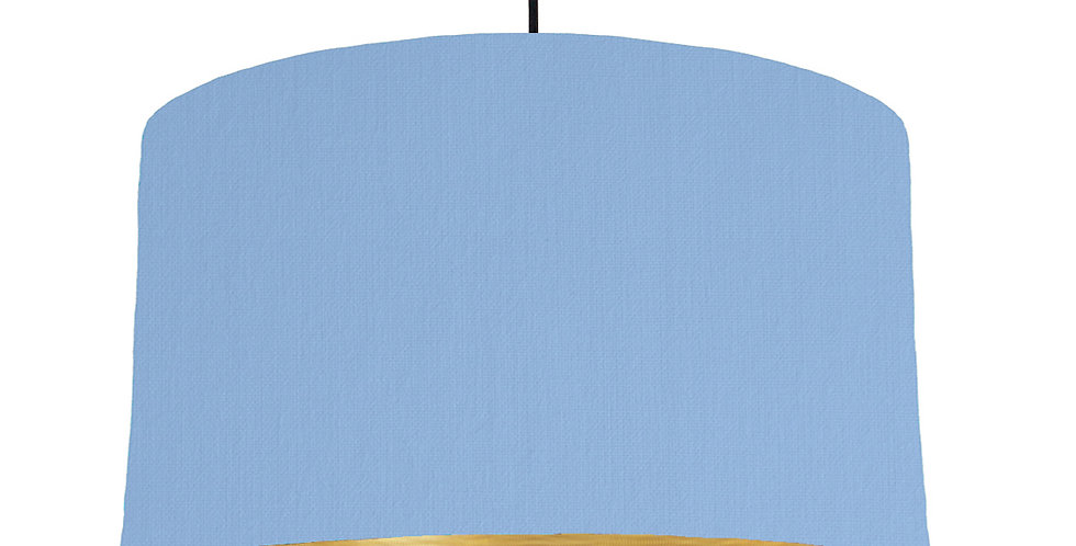 Sky Blue & Brushed Gold Lampshade - 50cm Wide