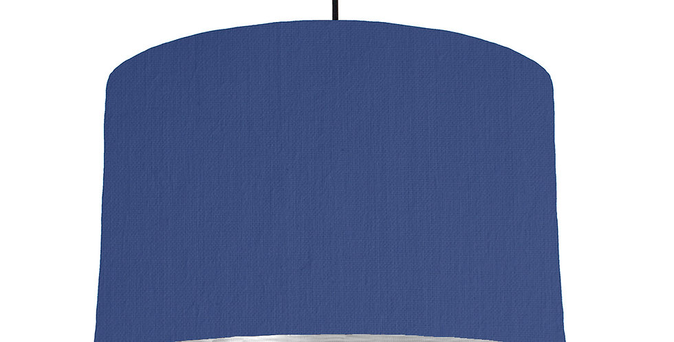 Royal Blue & Brushed Silver Lampshade - 40cm Wide