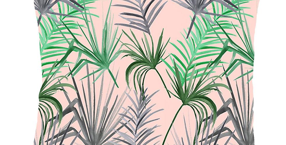 Tropical Leaf Velvet Cushion - Pink