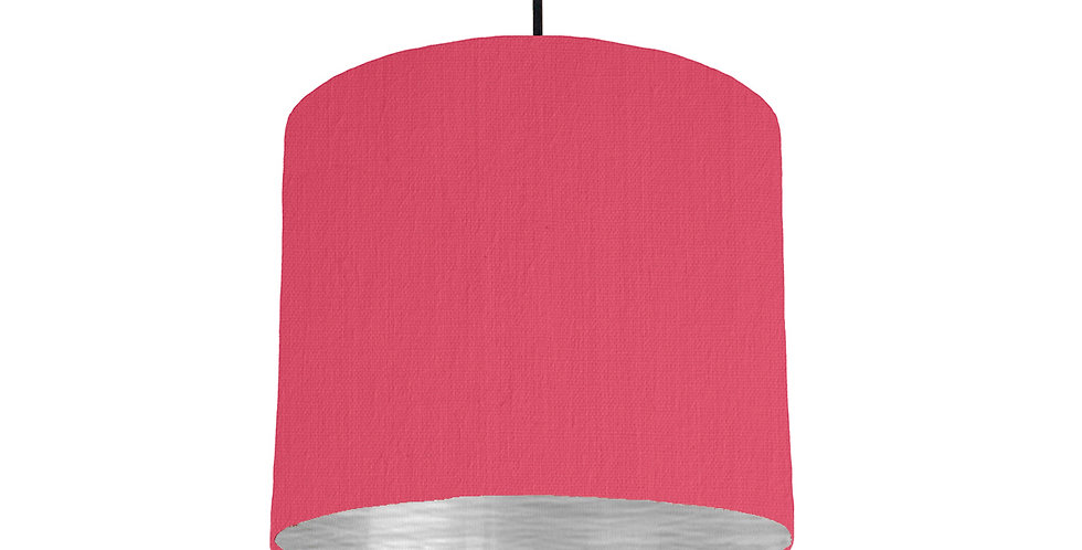 Cerise & Brushed Silver Lampshade - 25cm Wide