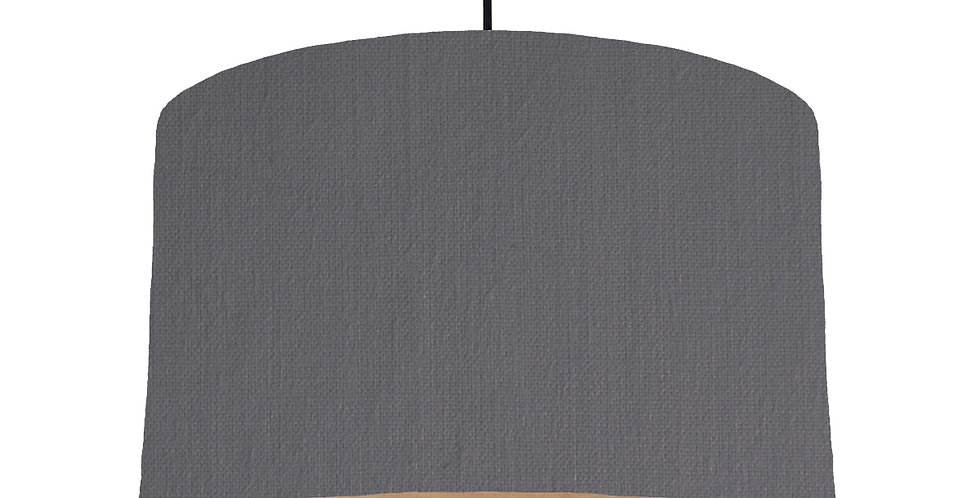 Dark Grey & Wooden Lined Lampshade - 40cm Wide