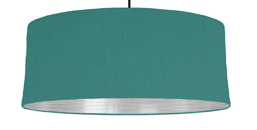Jade Green & Brushed Silver Lampshade - 70cm Wide
