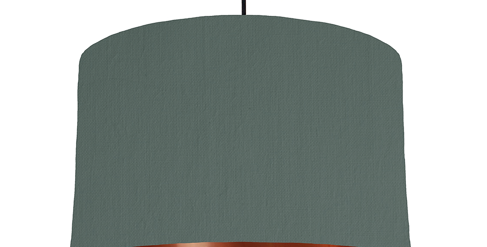 Bottle Green & Copper Mirrored Lampshade - 40cm Wide
