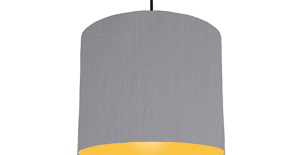 Light Grey & Butter Yellow Lampshade - 25cm Wide