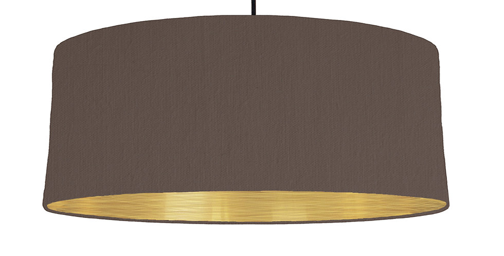 Brown & Brushed Gold Lampshade - 70cm Wide