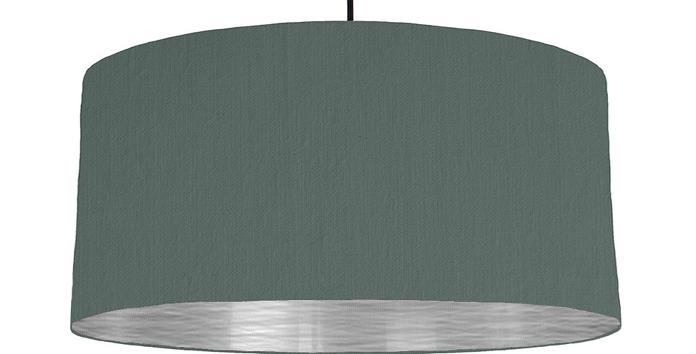 Bottle Green & Brushed Silver Lampshade - 60cm Wide
