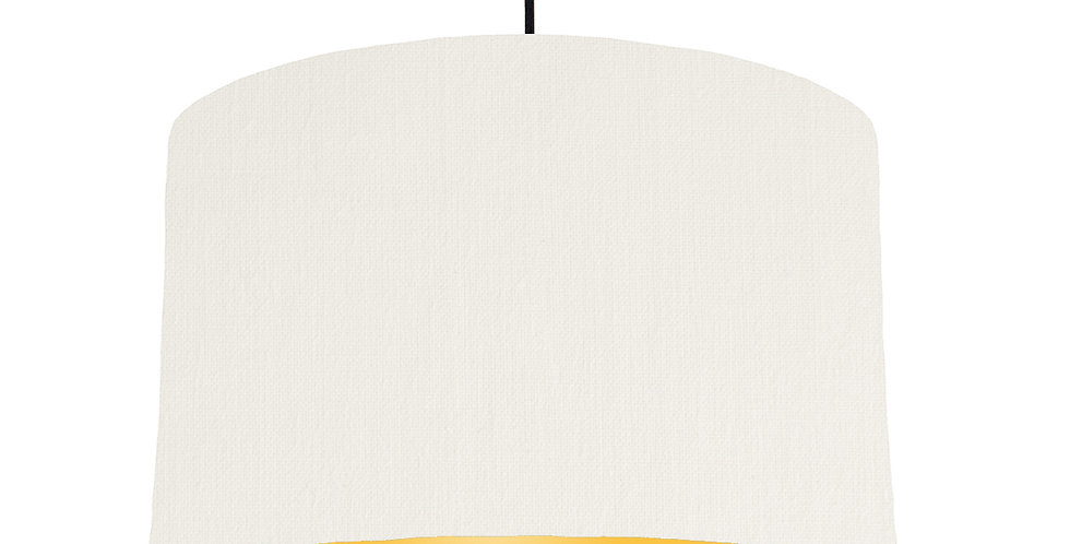 White & Butter Yellow Lampshade - 40cm Wide