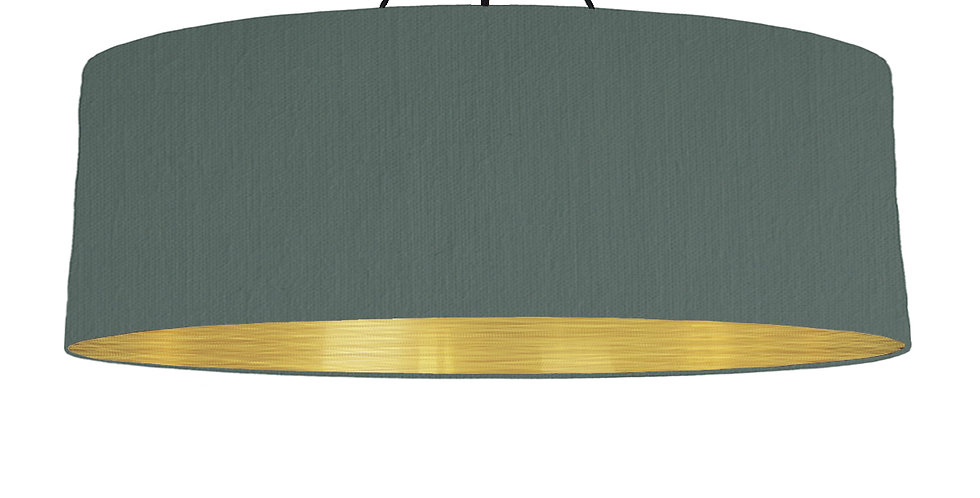 Bottle Green & Brushed Gold Lampshade - 100cm Wide