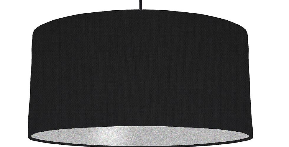 Black & Silver Matt Lampshade - 60cm Wide