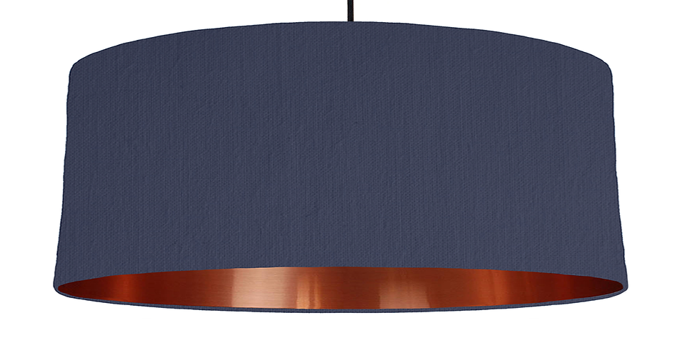 Navy & Copper Mirrored Lampshade - 70cm Wide