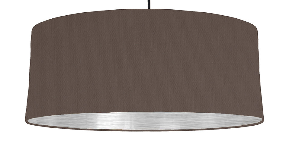 Brown & Brushed Silver Lampshade - 70cm Wide