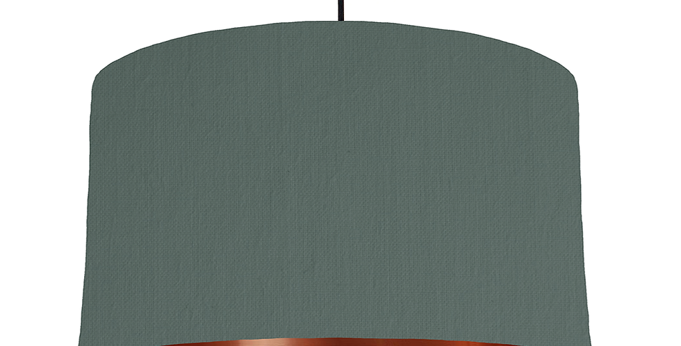 Bottle Green & Copper Mirrored Lampshade - 50cm Wide