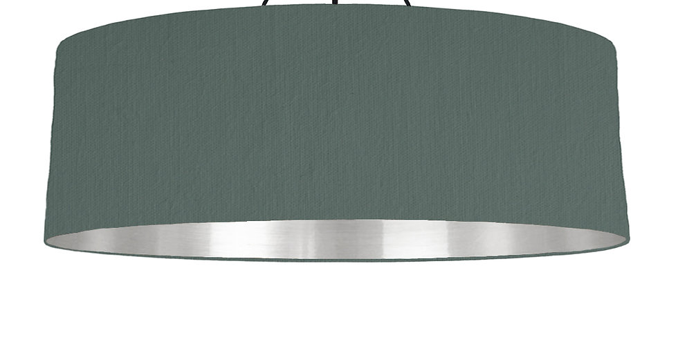 Bottle Green & Silver Mirrored Lampshade - 100cm Wide