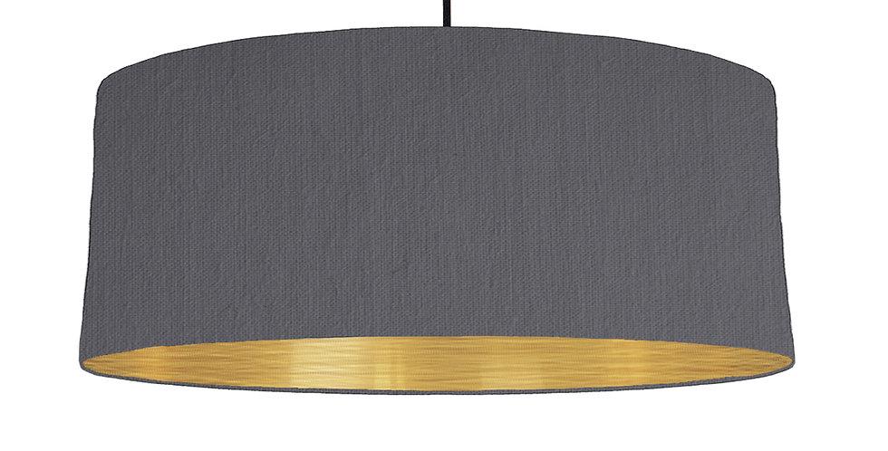 Dark Grey & Brushed Gold Lampshade - 70cm Wide