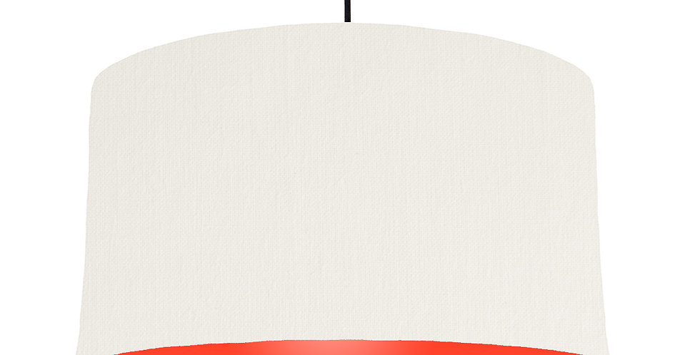 White & Poppy Red Lampshade - 50cm Wide
