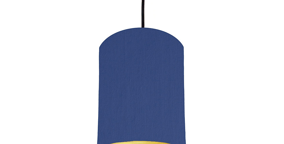 Royal Blue & Brushed Gold Lampshade - 15cm Wide