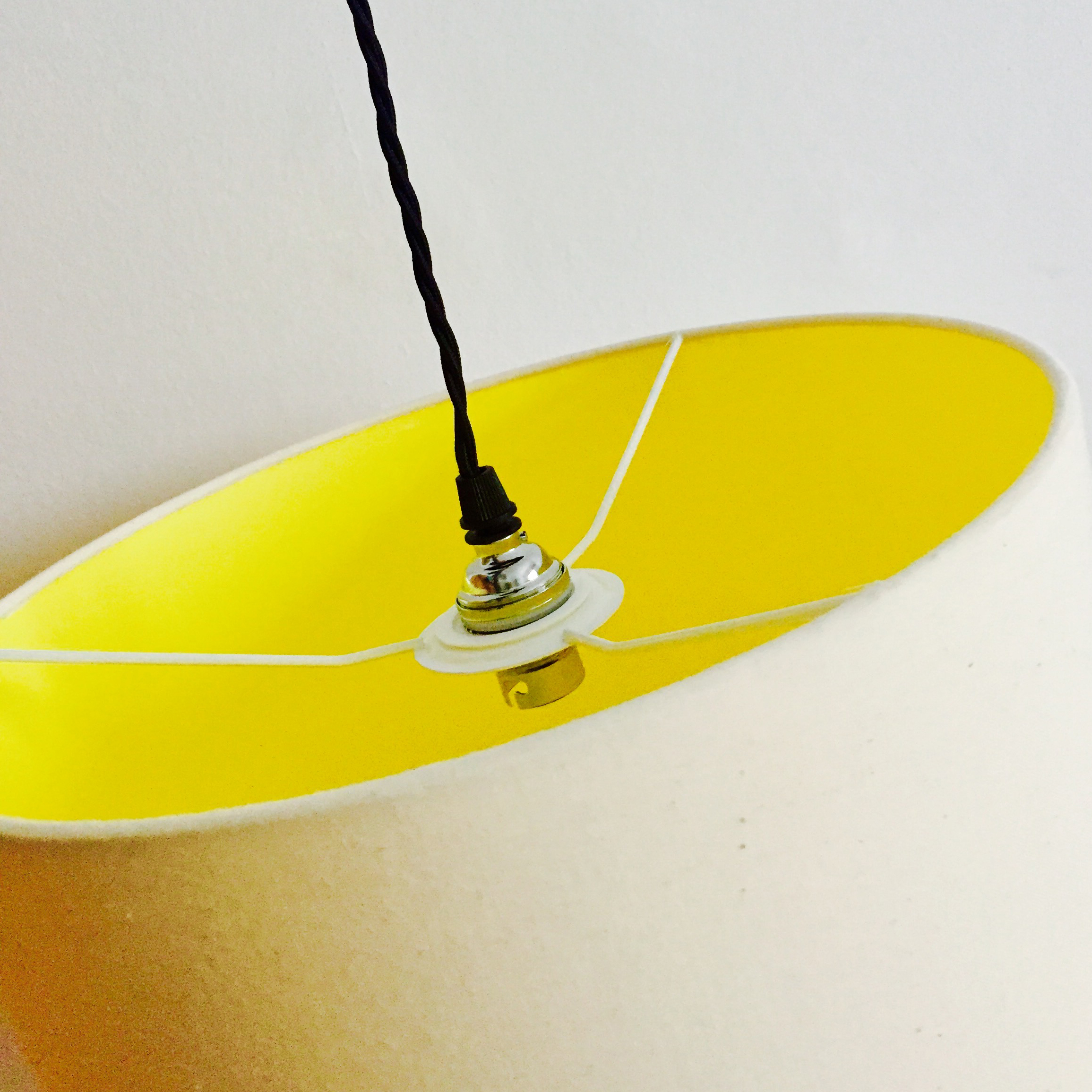 White & Butter Yellow Lampshade
