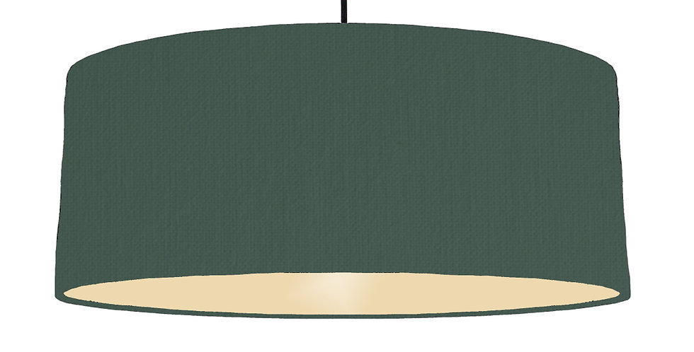 Bottle Green & Ivory Lampshade - 70cm Wide