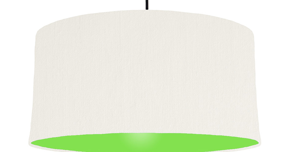 White & Lime Green Lampshade - 60cm Wide