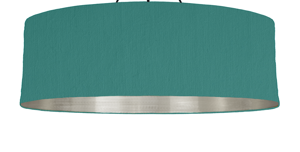 Jade & Brushed Silver Lampshade - 100cm Wide