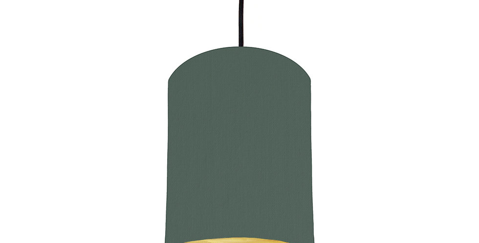 Bottle Green & Brushed Gold Lampshade - 15cm Wide