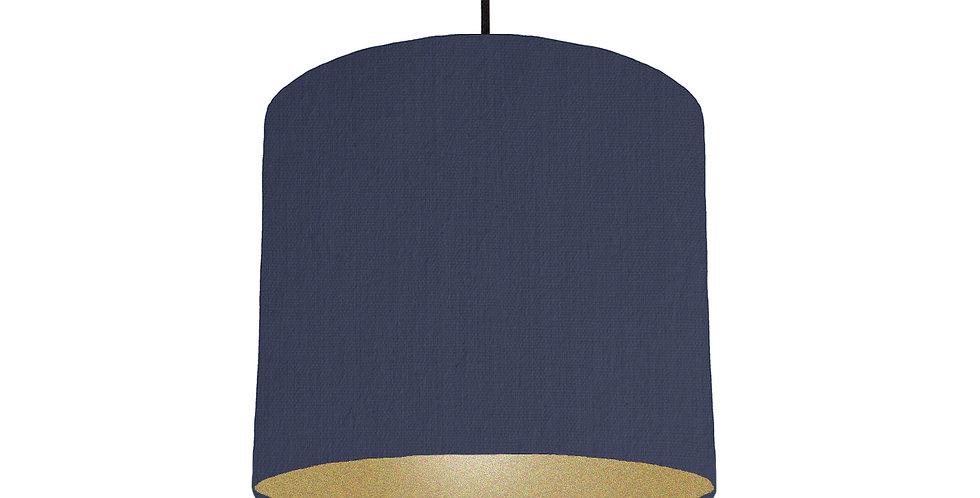 Navy Blue & Gold Matt Lampshade - 25cm Wide