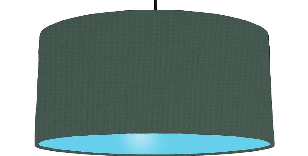 Bottle Green & Light Blue Lampshade - 60cm Wide