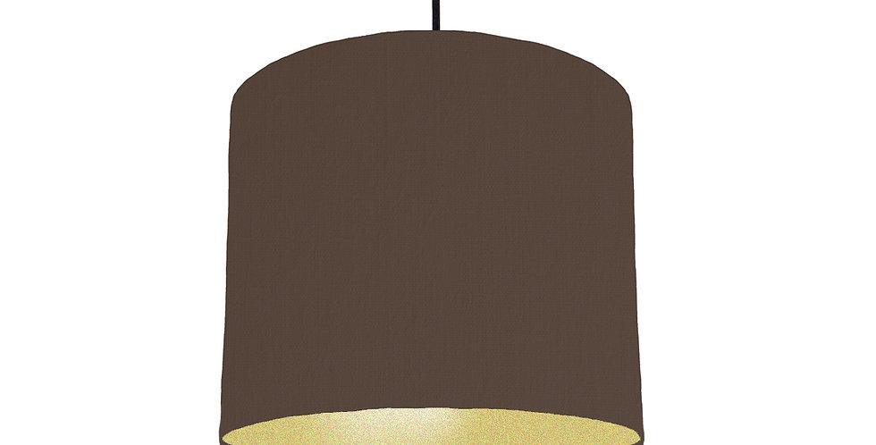Brown & Gold Matt Lampshade - 25cm Wide