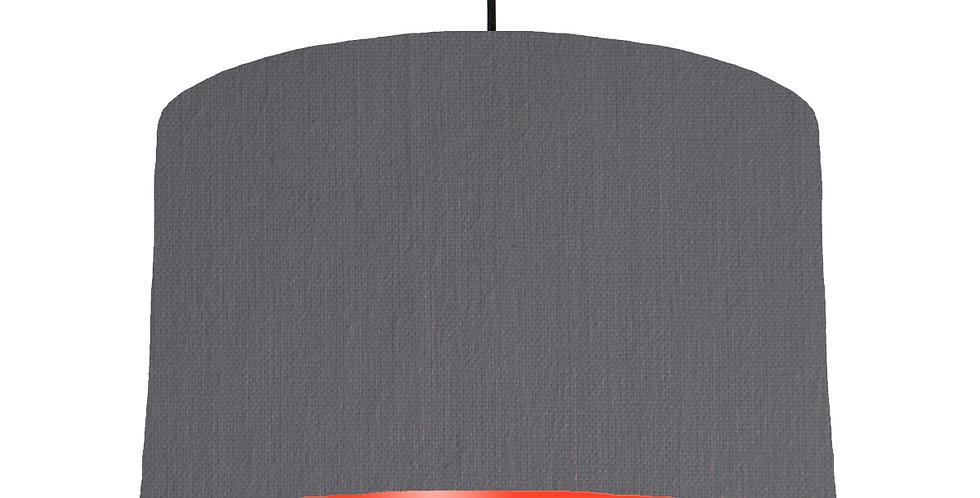 Dark Grey & Poppy Red Lampshade - 40cm Wide