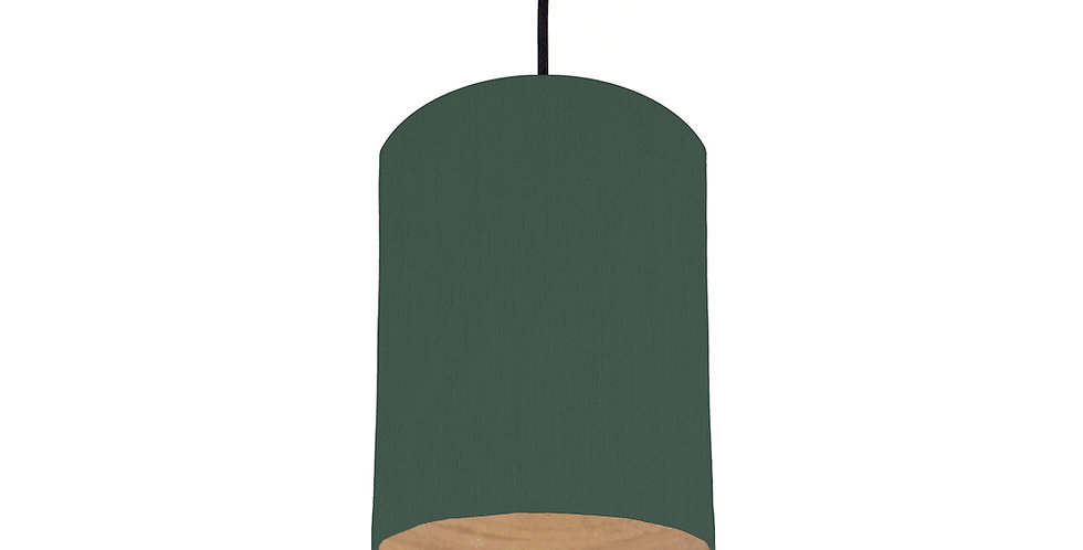 Bottle Green & Wood Lined Lampshade - 15cm Wide