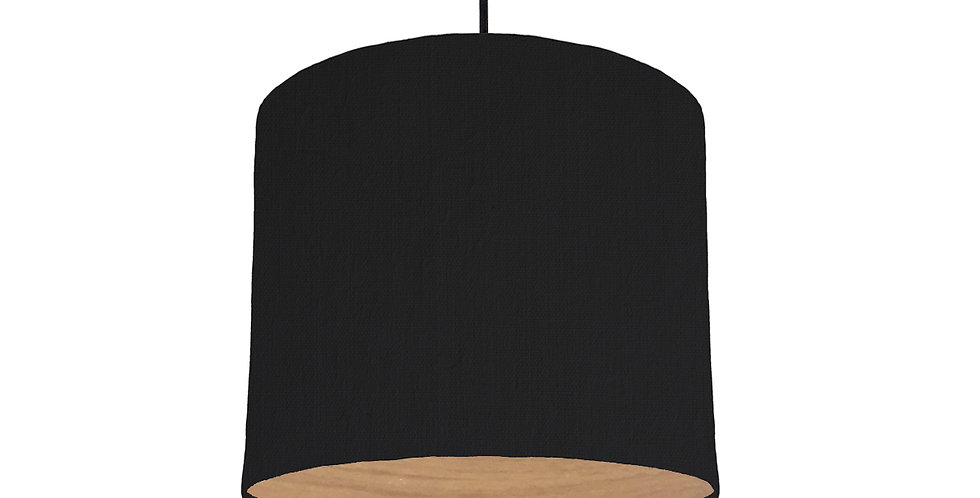 Black & Wood Lined Lampshade - 25cm Wide