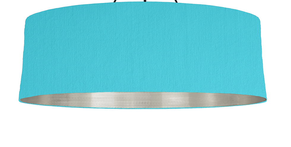 Turquoise & Brushed Silver Lampshade - 100cm Wide