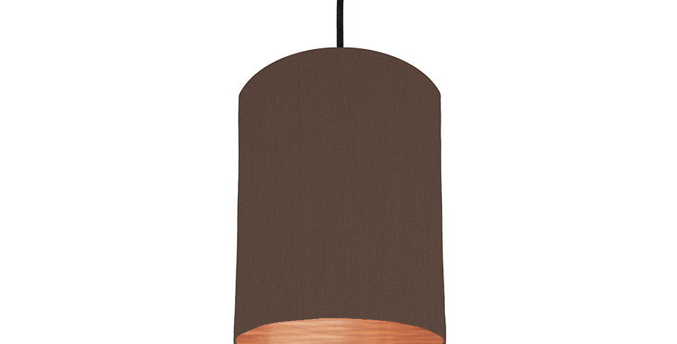 Brown & Brushed Copper Lampshade - 15cm Wide