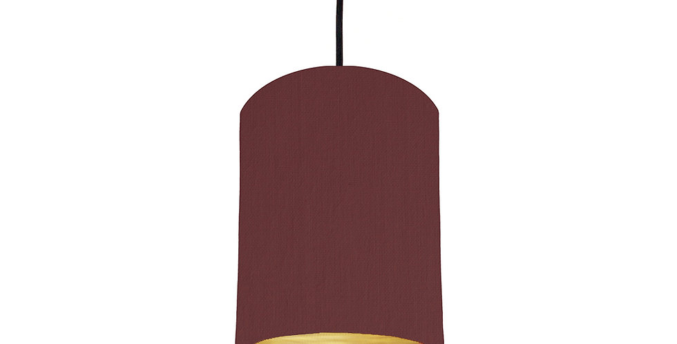 Wine Red & Brushed Gold Lampshade - 15cm Wide