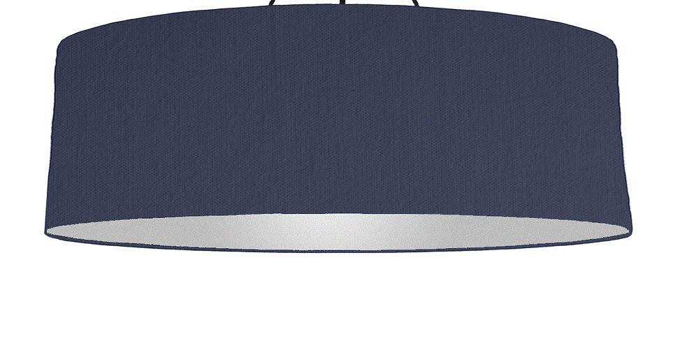 Navy Blue & Silver Matt Lampshade - 100cm Wide