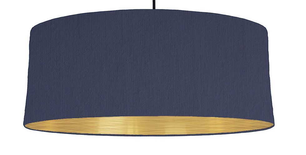 Navy Blue & Brushed Gold Lampshade - 70cm Wide