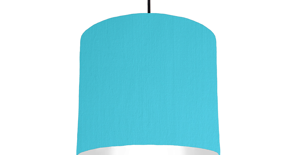 Turquoise & White Lampshade - 25cm Wide
