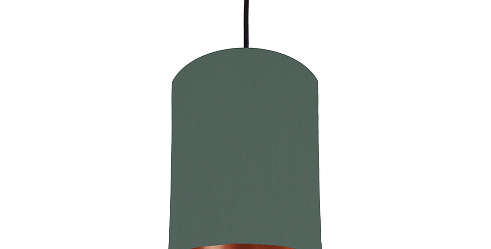 Bottle Green & Copper Mirrored Lampshade - 15cm Wide