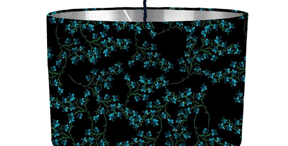 Black Ditsy Floral Lampshade - Metallic Lining