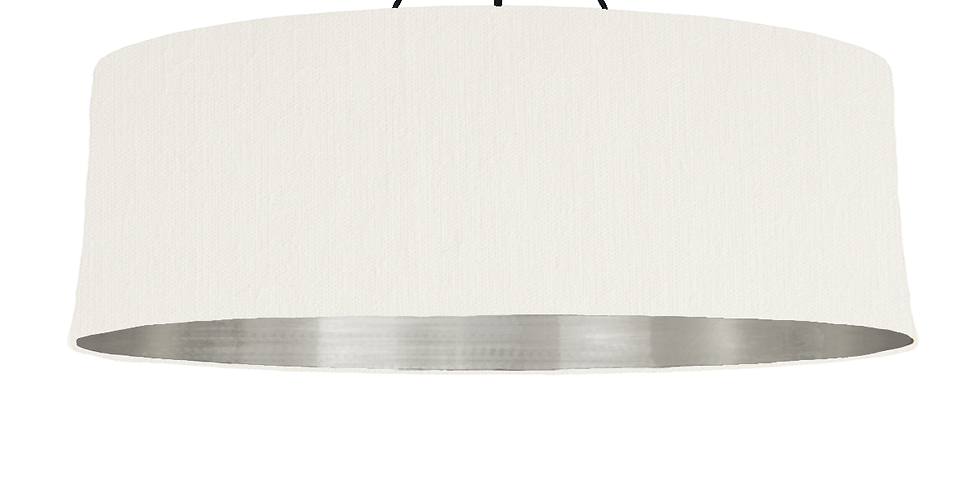 White & Brushed Silver Lampshade - 100cm Wide
