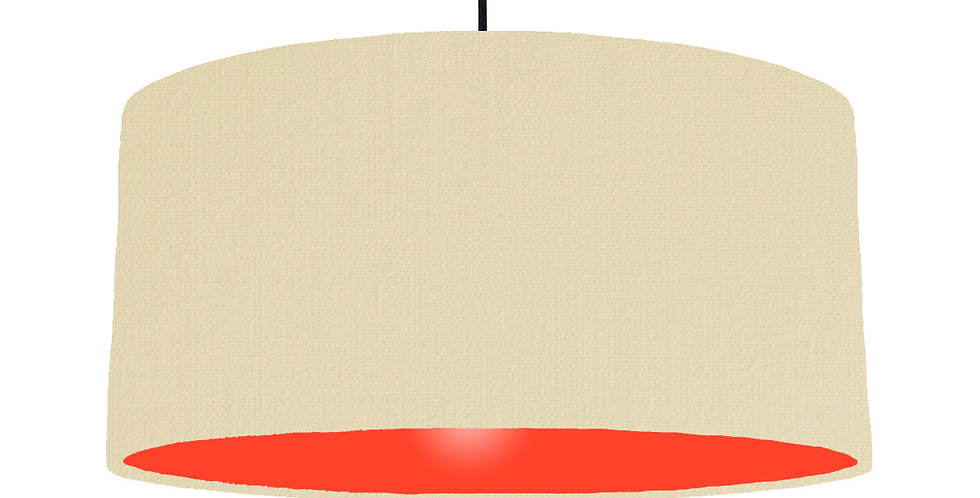 Natural & Poppy Red Lampshade - 60cm Wide