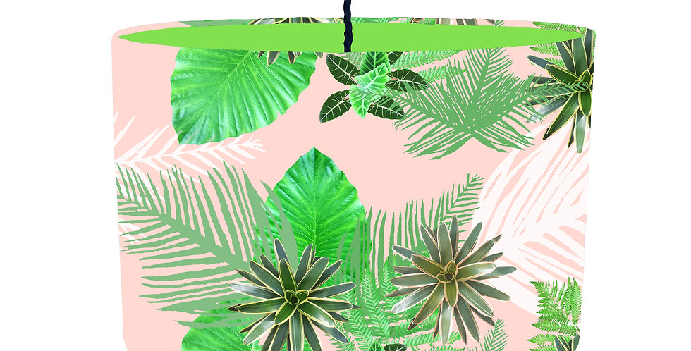 Tropical Plant Lampshade (Pink) - Colour Lining