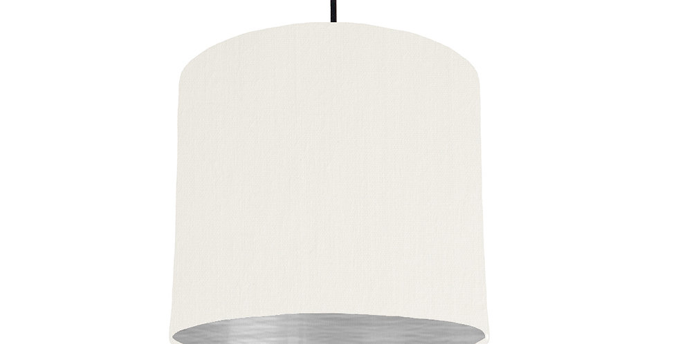 White & Brushed Silver Lampshade - 25cm Wide
