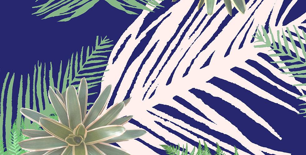 Digital Tropical Plant Velvet Fabric - Blue