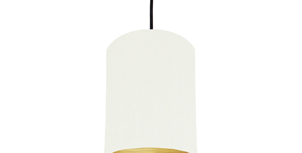 White & Brushed Gold Lampshade - 15cm Wide