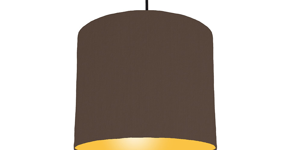 Brown & Butter Yellow Lampshade - 25cm Wide