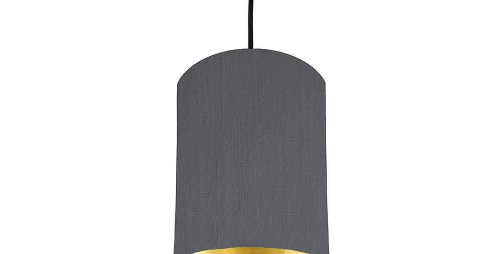 Dark Grey & Gold Mirrored Lampshade - 15cm Wide