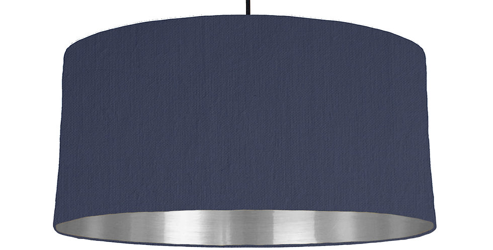 Navy & Silver Mirrored Lampshade - 60cm Wide
