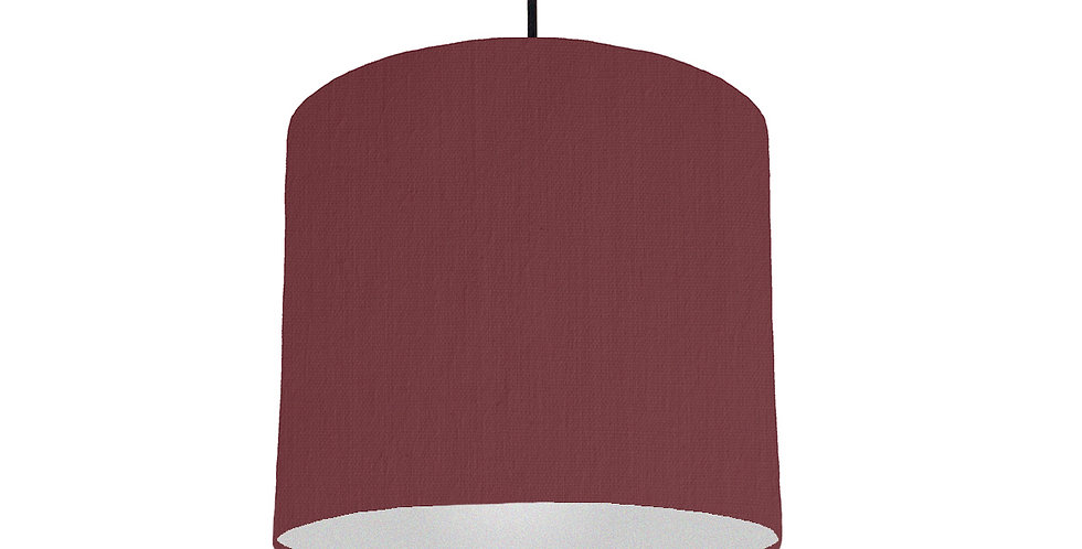 Wine Red & Silver Lampshade - 25cm Wide